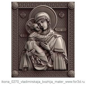 Icon 0270 Vladimir Icon of the Mother of God | stl - 3d model stl model for CNC