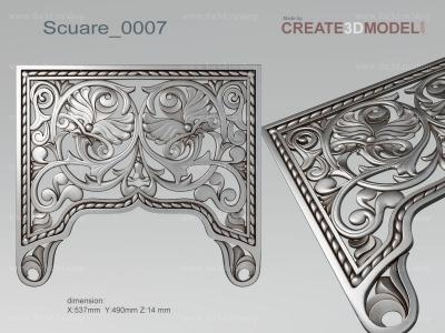 Scuare 0007 stl model for CNC