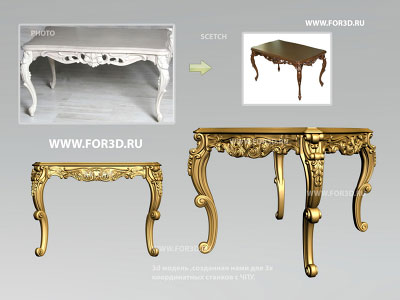 Fragment table Cabriole "