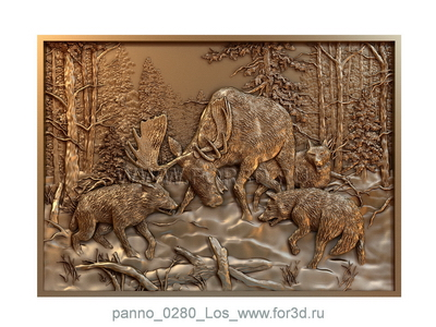 Panno 0280 Elks | 3d stl model for CNC